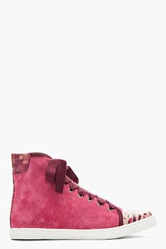 4d1f3deb6141 Lanvin Fuchsia Suede And Snakeskin Ribbon-laced Sneakers for women