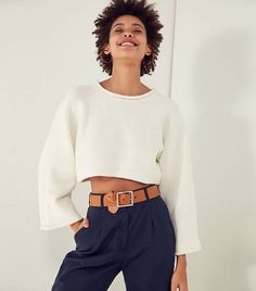 5 Cool Ways to Wear a Cropped Sweater via @WhoWhatWear