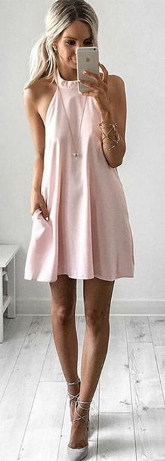 Blush pink halter summer dress. Perfect for spring and summer. Stitch fix fashion trends 2016.