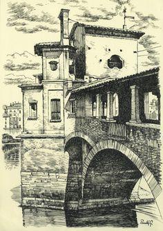 Pavia cover bridge, ink drawing