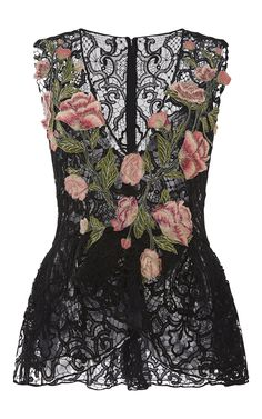 V-Neck Lace Top by Marchesa for Preorder on Moda Operandi