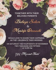 Wedding invitation designed for the beautiful @baheyasalem90 and the handsome @dosky_81  May your married life be a magnificent journey of love  #weddinginvitation #wedding #friends #vintage #chalkboard #floral #love