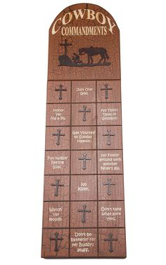M Western Products® Cowboy Commandments Wooden Wall Plaque