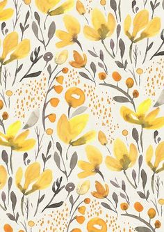 'Yellow field' Poster by irtsya Design Floral, Motif Floral, Floral Prints, Floral Patterns, Floral Print Fabric, Watercolor Flowers, Watercolor Art, Watercolor Pattern, Floral Watercolor Background