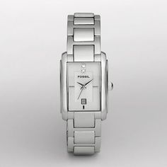 Fossil :: Three Hand Silver Dial Watch classic style - like Cartier tank watch $75.00