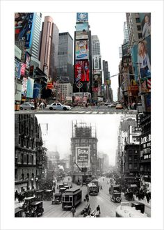 Times Square North Then Now #newyork, #NYC, #pinsland, https://apps.facebook.com/yangutu