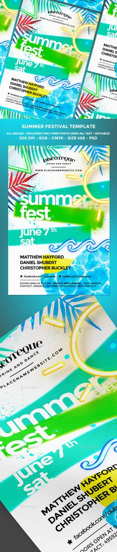 Tropical Summer Flyer | Flyer Template, Party Flyer And Summer