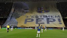 #pepguardiola Barcelona supporters unfurl a giant banner in recognition of coach Josep Guardiola