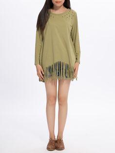 Sale 17% (18.91$) - Plus Size Casual Women Tassel Long Sleeve O Neck Blouse