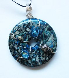 Blue Crazy Lace Agate Donut Pendant Bead by AndreaLapinsArt