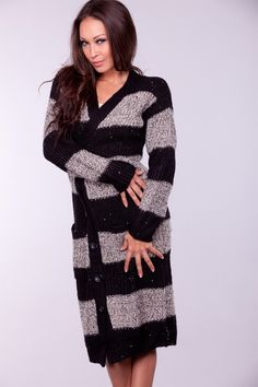 BLACK STRIPE SEQUIN KNIT LONG CARDIGAN SWEATER $18.50 I Like This One Too