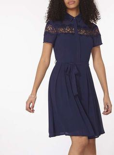 Navy Fit And Flare Shirt Dress - Dorothy Perkins