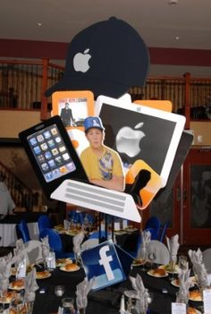 "The Talarico Family had the unusual theme of ""Hats"" for their son's Bar Mitzvah celebration. Check out all their creative Bar Mitzvah party ideas. Bar Mitzvah Centerpieces, Bar Mitzvah Themes, Bar Mitzvah Party, Bat Mitzvah, Family Bar, Geek Party, Dance Themes, Mad Hatter Party, Birthday Party Themes"