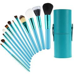 Professional 12pcs Super Soft Makeup Brushes Kit NO SHEDDING Smooth Foundation Blush Eyeliner Face Powder Eyeshadow Blending Brushes Cosmetics Tool Application With Case Holder Ocean Green -- Continue to the product at the image link. (This is an affiliate link) Eyeliner, Eyeshadow, Makeup Contouring, Soft Makeup, Brush Sets, Face Powder, Makeup Brush Set, Makeup Products, Sculpting