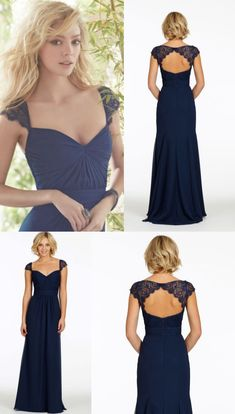 Navy Bridesmaid Dresses, Long Bridesmaid Dresses, Chiffon Bridesmaid Dresses, Navy Bridesmaid Dresses Long, Long Chiffon Bridesmaid Dresses, Long Navy Bridesmaid Dresses, Long Sleeve Dresses, Navy Blue dresses, Navy Blue Bridesmaid Dresses, Blue Bridesmaid Dresses, Open Back Dresses, Navy Blue Long Open Back Cap Sleeve Sexy Chiffon Bridesmaid Dresses