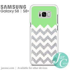 Green Silver Glitter Chevron Phone Case for Samsung Galaxy S8 & S8 Plus