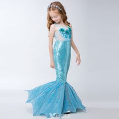 Deluxe Mermaid Dress Mermaid Costume Mermaid Tail For Girls Toddler Mermaid Dress (Walkable) - Mermaid Wedding Dresses Girls Mermaid Costume, Mermaid Halloween Costumes, Girls Mermaid Tail, Girl Costumes, Mermaid Tail Costume, Little Mermaid Dresses, Little Girl Dresses, Girls Dresses, Flower Girl Dresses