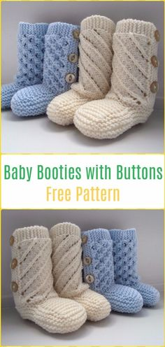 Knit Baby Booties with Buttons Free Pattern - Knit Ankle High Baby Booties Free Patterns