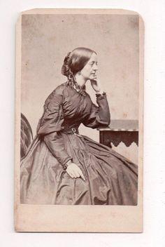 Vintage CDV Civil War Era Lady with Curls Warren Photo Lowell Mass