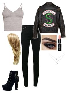 """""""Me as A South Side Serpent"""" by londonblossom ❤ liked on Polyvore featuring Yves Saint Laurent, Smashbox and BasicGrey"""