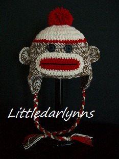Sock Monkey Hat Crochet - Girls Boys Sock Monkey Beanie Hat - Adult Monkey hat - Photo Prop Hat. $30.00, via Etsy.