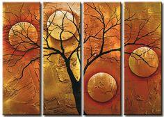 Obraz na płótnie fantasy z magicznym drzewem. Żonglując księżycami - piękny wieloczęściowy obraz w brązach.