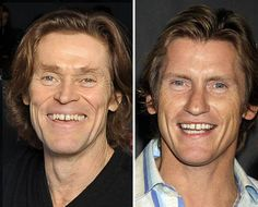 No, they don't. Dafoe looks evil, & leary just has a really dirty mouth…