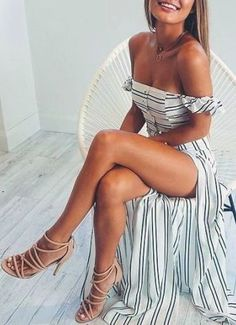 #summer #fashion / striped off-the-shoulder dress