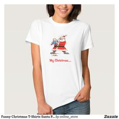 Funny Christmas T-Shirts Santa Personalized White