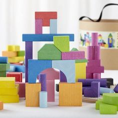 Kids Wooden Toys: Colorful Wooden Blocks in Building Blocks | The Land of Nod