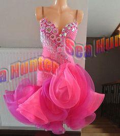Ballroom-Samba-Cha-Cha-Latin-Ramba-Dance-Dress-US-8-UK-10-Pink-Sliver-Color