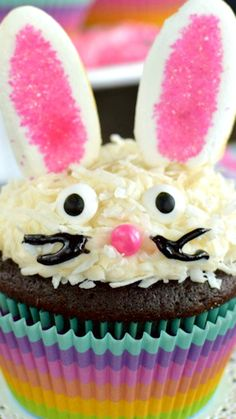 Chocolate Coconut Bunny Cupcakes ~ These easy to make marshmallow bunnies make these cupcakes an adorable treat for Easter or any party.