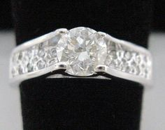 1 ct Diamond Cathedral Engagement Ring 1.2ct Total 14kt White Gold Round Cut Diamonds in Pave Cathedral Mounting 14K by americanjewelryco, $2570.00