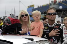 Kevin Harvick with his family during pre-race ceremonies for the Pure Michigan 400 at Michigan International Speedway. View more photos from Michigan here: http://www.stewarthaasracing.com/media/gallery/index.php
