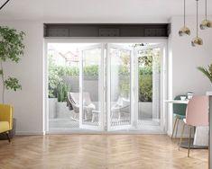 Bifold Doors Onto Patio, White Bifold Doors, Bifold Glass Doors, External Bifold Doors, Folding Doors, Bi Fold Doors, Folding Glass Door, Stacker Doors, Snug Room