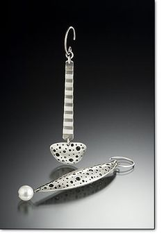 """Fabricated Sterling, Freshwater Pearl, Perforated, Oxidized, Textured .75"""" x .25"""" x 3"""""""