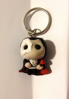 Lil Phantom of the Opera Keyring  - An adorable little operatic ghost on a keychain - Approx. 4 - 5 cm high, handmade so each one unique - Made