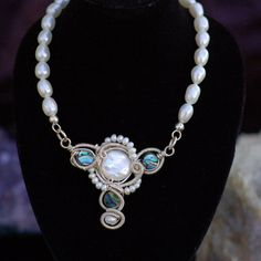 Abalone and Cultured Pearl Necklace in Sterling by KosmicKrystals