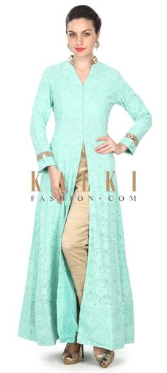 Buy this Light green suit in thread and mirror work only on Kalki