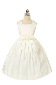 Mom's pick: Girls Ivory Taffetia Dress with Rose waistline 3047 by Sweet Kids
