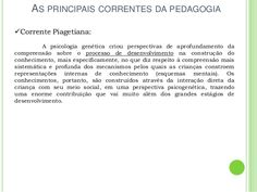 AS PRINCIPAIS CORRENTES DA PEDAGOGIA Corrente Piagetiana: A psicologia genética criou perspectivas de aprofundamento da c...