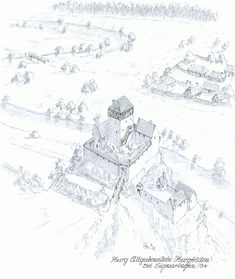 Medieval Town, Medieval Castle, Medieval Fantasy, Architecture Old, Historical Architecture, Game Of Thrones Castles, Castle Layout, Castle Drawing, Minecraft Castle
