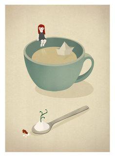 Tea Coffee girl paper boat ship illustration  Cup by teconlene, $22.00