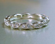 Diamond engagement or wedding band 14k gold by ValerieKStudio, $750.00