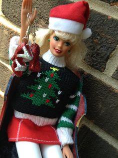 Barbie Shoe Earrings Santa's Sleigh by BeckyABoutique on Etsy, $9.00