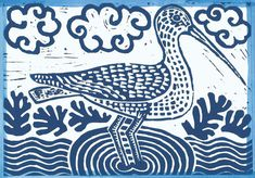 Curlew linocut hand printed card Cut Animals, Linoprint, Bird Design, Great Pictures, Hand Coloring, I Fall In Love, Paper, Prints, Cards