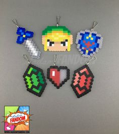 12 Legend of Zelda Party Favors - Zipper Pulls Keychains Clips - Video Game Wedding Favors, Video Game Baby Shower Favors