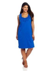 Jones New York Womens Plus-Size Scoop Tank Dress With Ruffles,