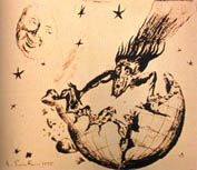 The figure which a witch lets hair stream, and flies It was thought that the comet attacked the earth like a witch.
