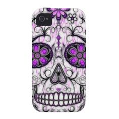 Day of the Dead Sugar Skull - Pink  Purple 1.0 Case-Mate iPhone 4 Cover